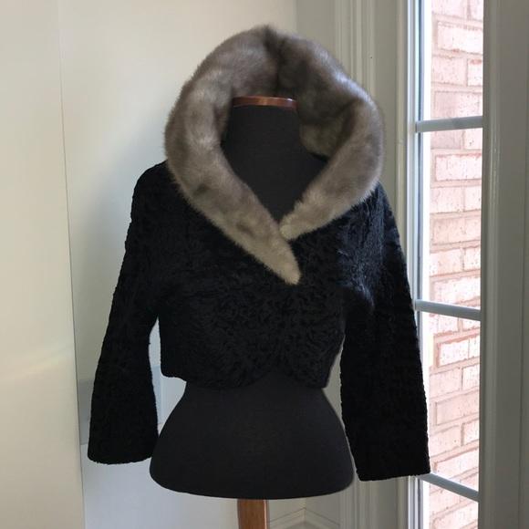 71712db6467 feuer fur co. Jackets   Blazers - Sheared Persian Lamb  Blue Iris mink  bolero jacket